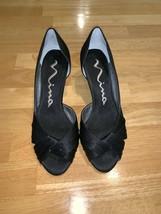 Nina Black Satin Open Toe Pump Slip On Kitten Occasion Shoes Size 6 - $35.00