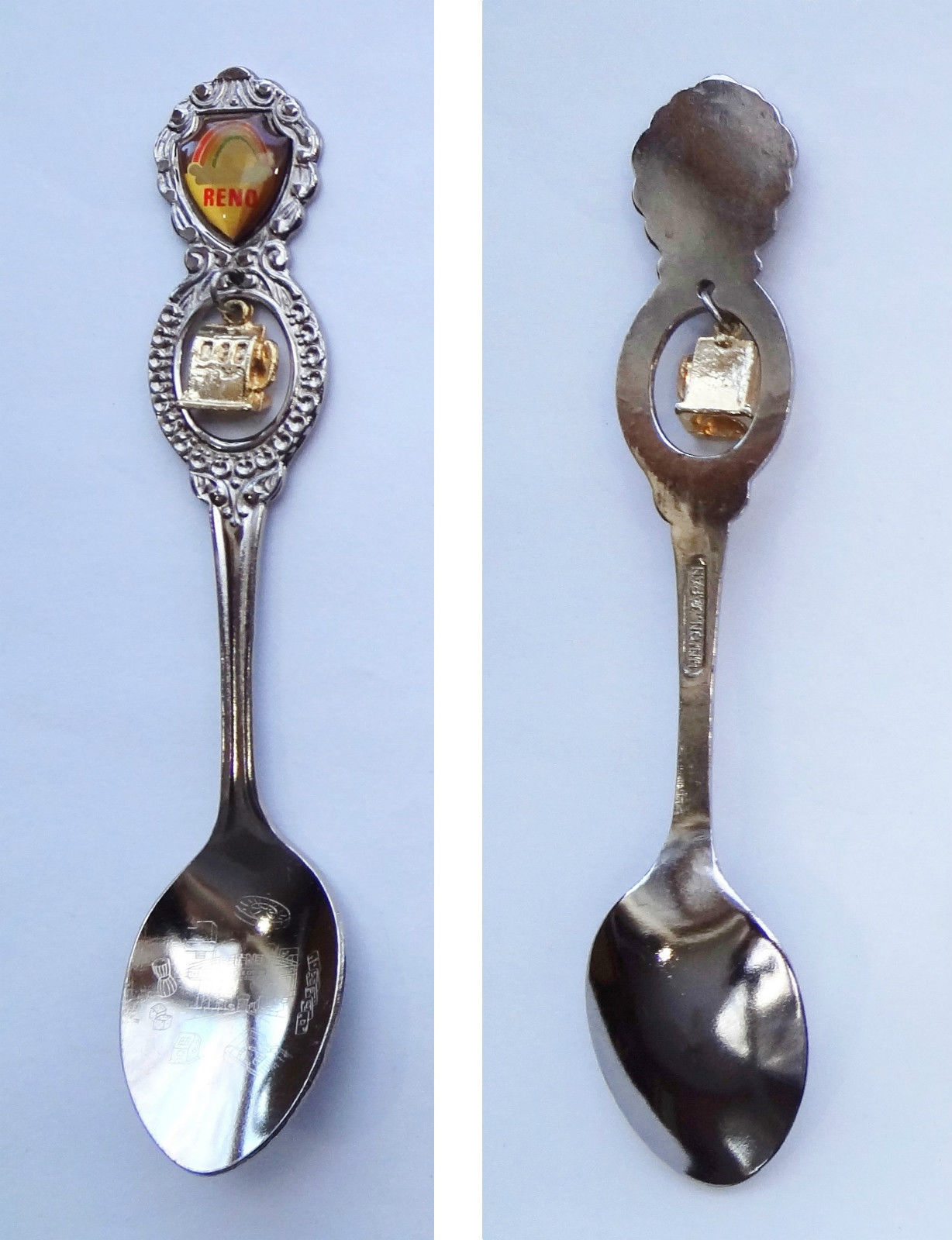 Collector Souvenir Spoon USA Nevada Reno Rainbow Emblem Slot Machine Charm