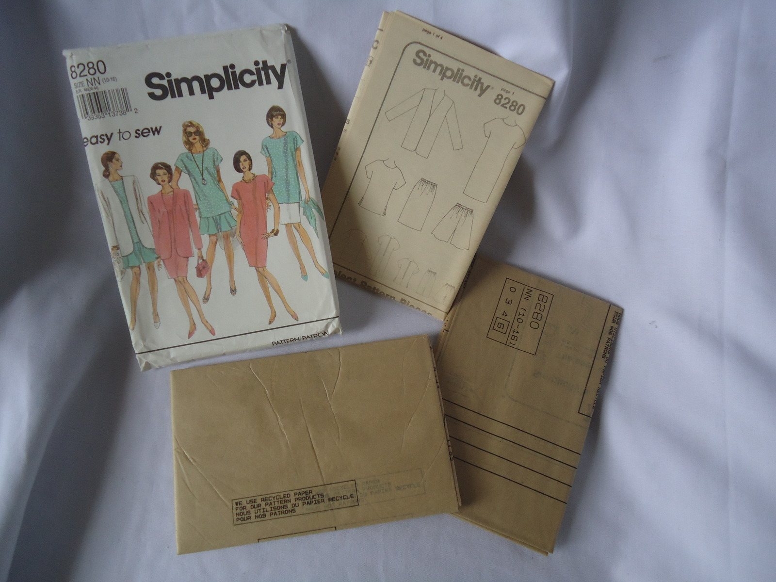 Vintage Simplicity #8280 Misses  Dress/Tunic Skirt and Jacket Pattern Size 10-16