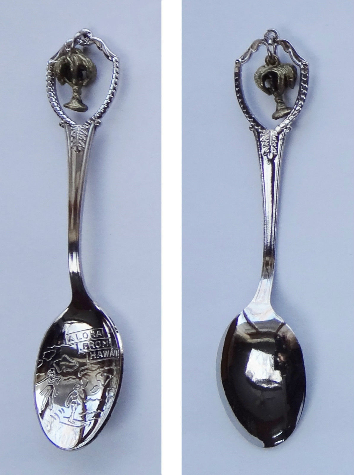 Collector Souvenir Spoon USA Hawaii Palm Tree Charm Map Bowl