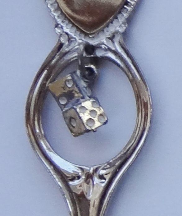 Collector Souvenir Spoon USA Nevada Las Vegas Golden Strip Dice Charm