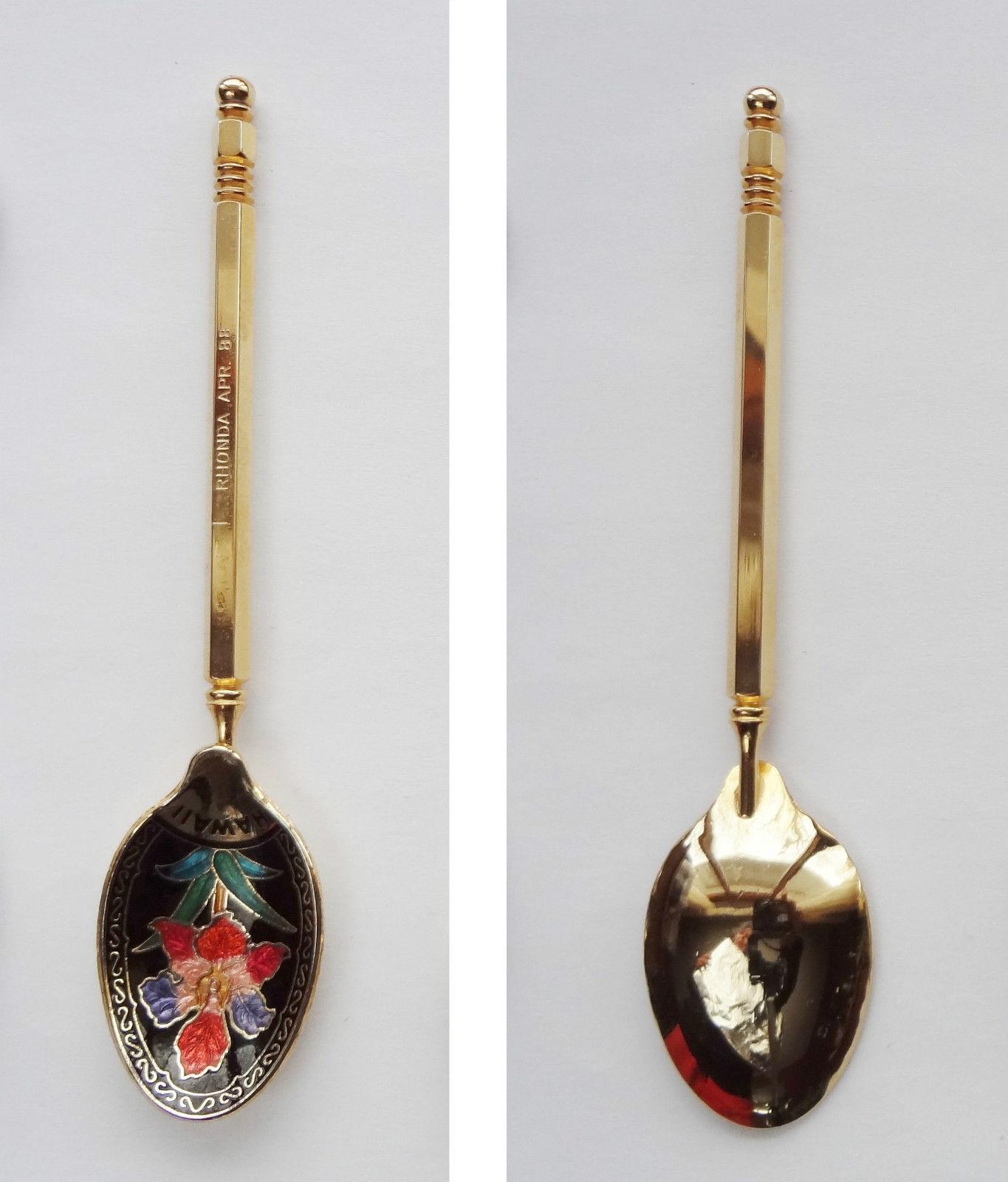 Collector Souvenir Spoon USA Hawaii Hibiscus Cloisonne Bowl Rhonda April 88