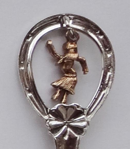 Collector Souvenir Spoon USA Hawaii Hula Girl Charm Map Bowl