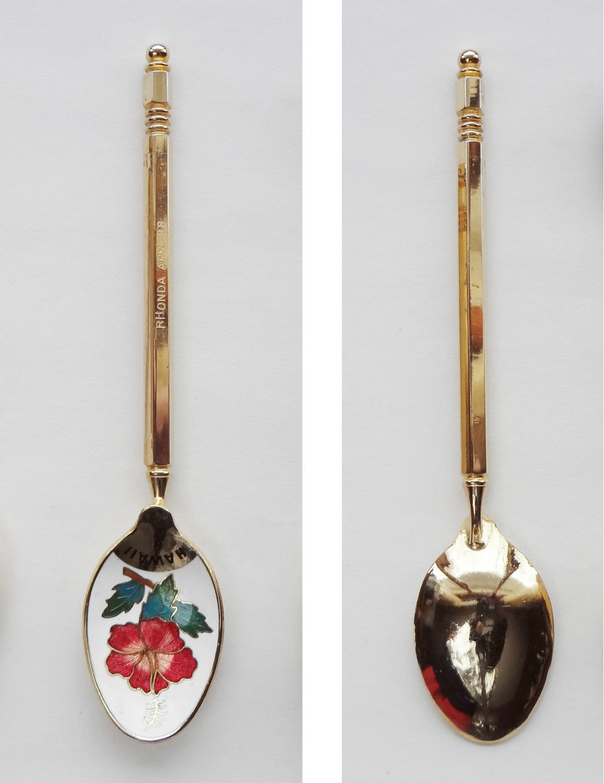 Collector Souvenir Spoon USA Hawaii Hibiscus Cloisonne Bowl Rhonda Apr. 88