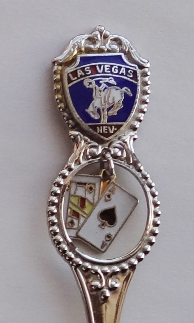 Collector Souvenir Spoon USA Nevada Las Vegas Cowboy Bucking Bronco Cards Charm