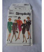 Vintage Simplicity #7954 Misses Dress  Diagonal Seaming Pattern Size 12-16 - $6.50