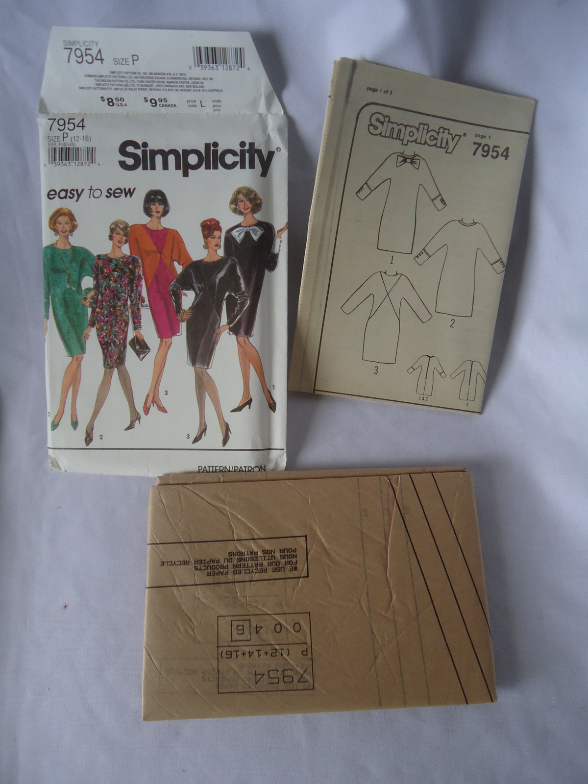 Vintage Simplicity #7954 Misses Dress  Diagonal Seaming Pattern Size 12-16