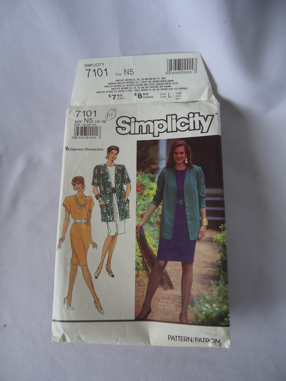 Vintage Simplicity # 7101 Misses Miss Petite Dress and Jacket Pattern Size 10-18