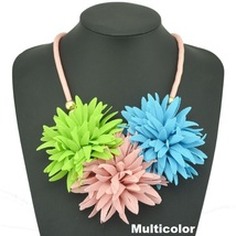 Handmade soft flower statement necklace multicolor thumb200
