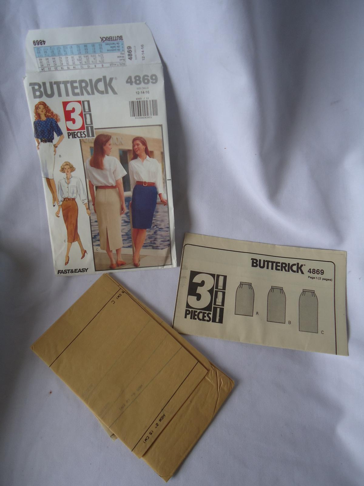 Vintage Butterick # 4869  Misses Petite Skirt   Pattern Size 12-16