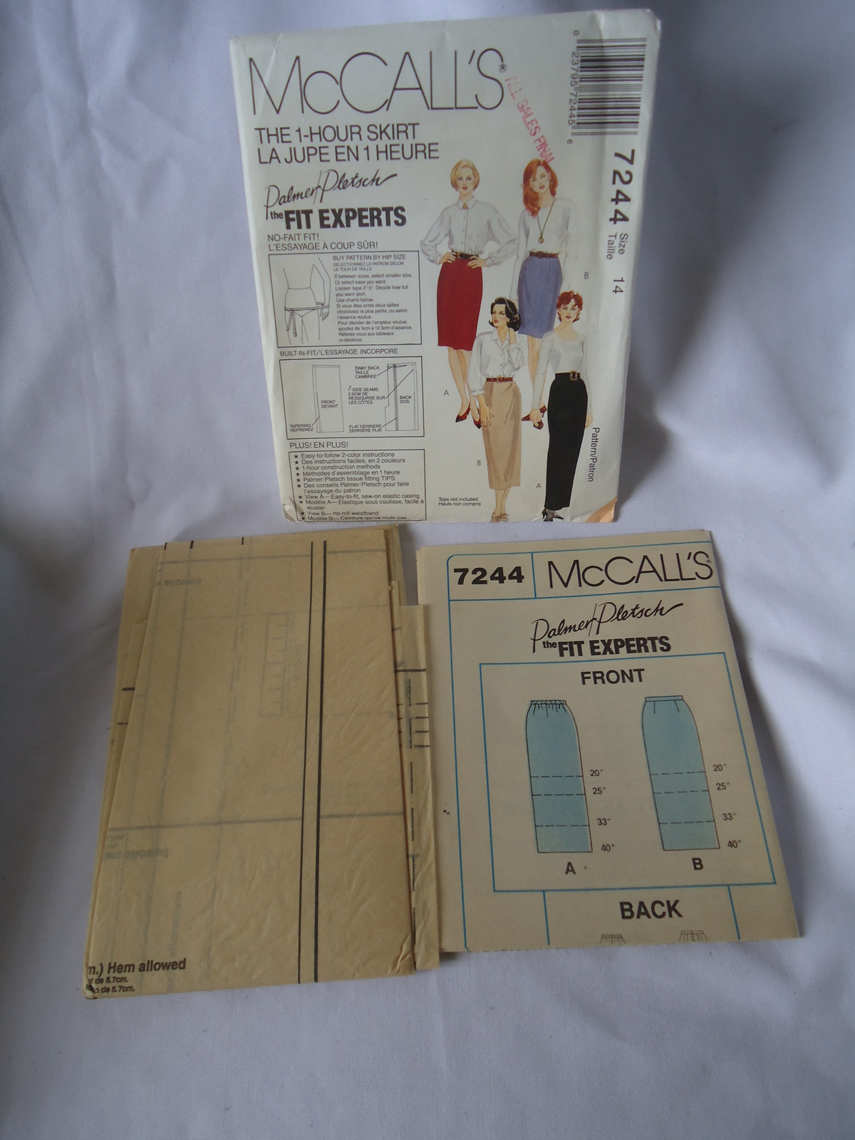 1994 Vintage McCall's # 7244  Misses 1 Hour Skirt In 4 Lengths  Pattern Size 14
