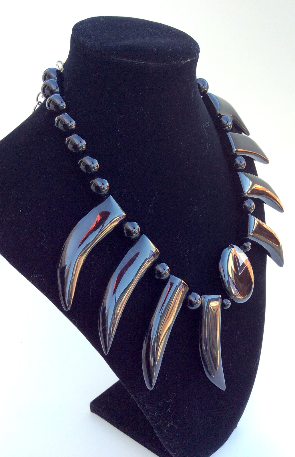 Black agate  semi precious stone One of a Kind Hand crafted choker necklace S200