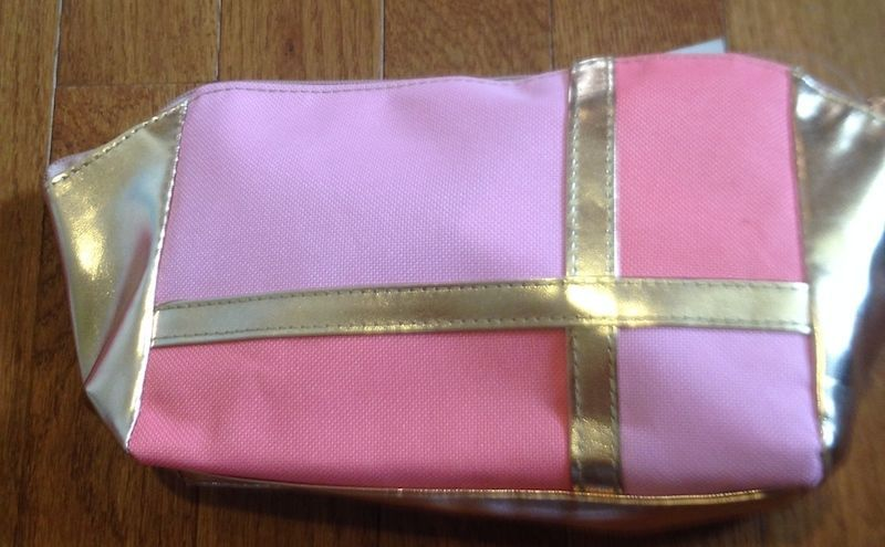 Olay/Cover Girl Mosaic PINK, ORANGE & GOLD Canvas Cosmetic Bag