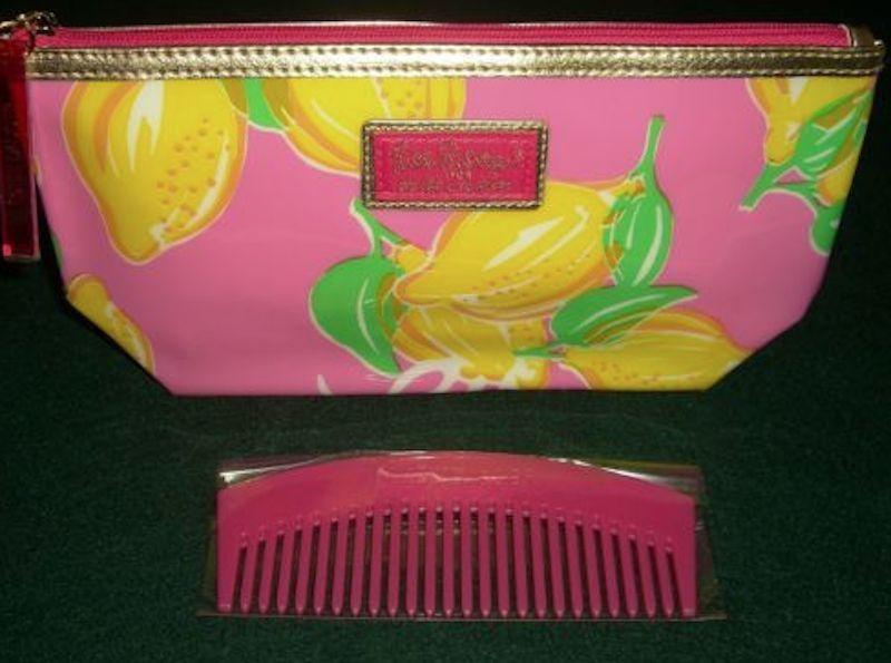 Estee Lauder 2014 Lilly Pulitzer Pink Lemon Print  COSMETIC BAG + Pink  Comb