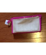 Ulta Straw Woven with Hot Pink Patent  Trim Cosmetic Makeup Bag - $4.99