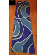 ANN TAYLOR Blue  Swirl 100% Wool Scarf - $15.99