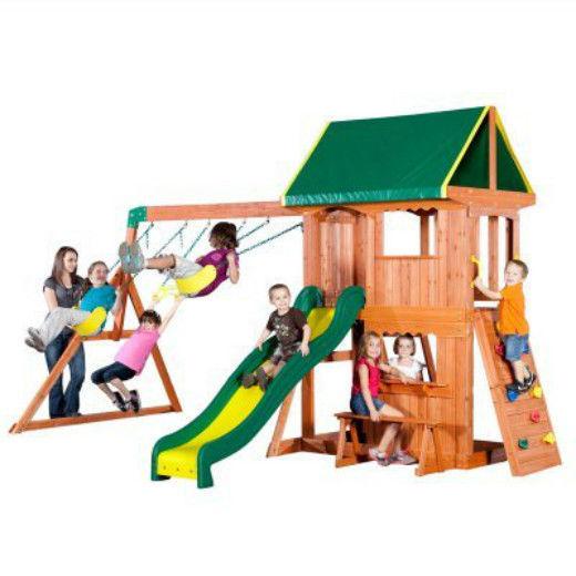 Fun Wood Swing Set Kids Playset Outdoor Slippery Slide Step Ladder Bench Canopy