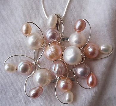 Pearls flower silver pendant 6