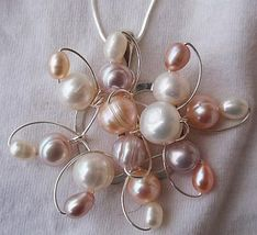 Pearls flower silver pendant - $69.00