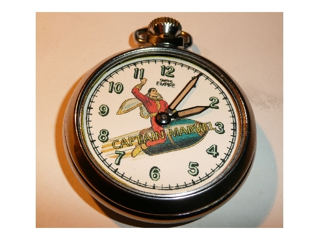Old Captain Marvel character dial pocket watch