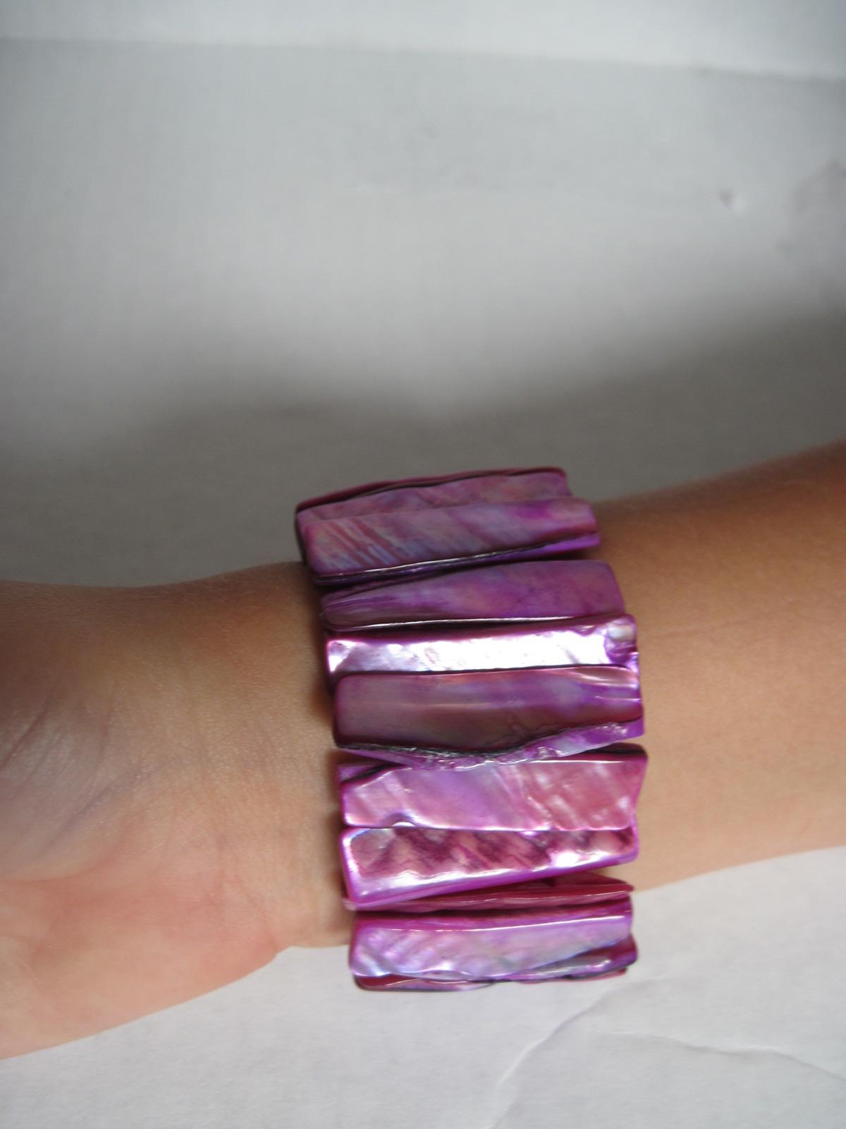 Wide Stretch Shell Cuff Bracelet Purple