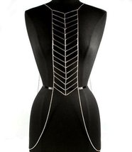 Body Chain Chevron Geometric Design Armor Silve... - $22.99