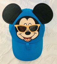 Disney Parks Toddler Hat Baseball Cap Mickey Mouse Black Ears in Sunglasses Aqua - $11.69