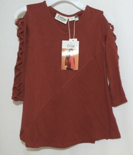 Simply Noelle Curtsy Couture Girls Cutout Long Sleeve Shirt Paprika Size 2T