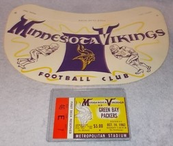 Minnesota Vikings Football Head Visor & Ticket Stub Vs Green Bay Packers 1962  - $195.00