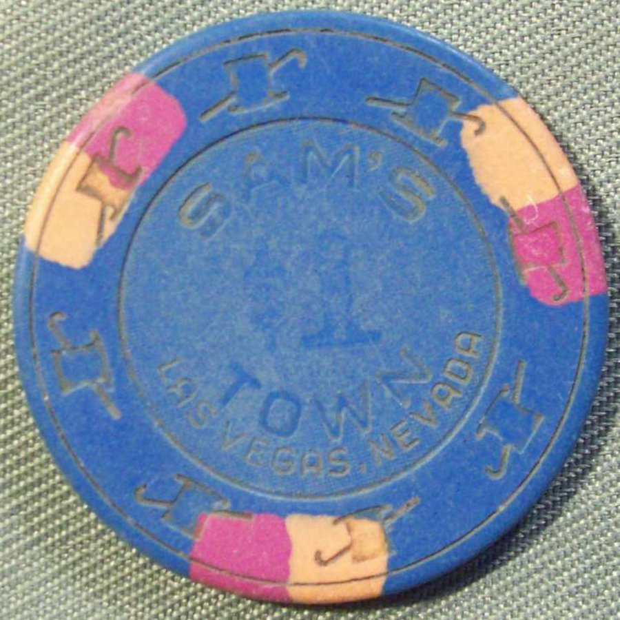 SAM'S TOWN $1 TABLE GAMES CASINO CHIP - LAS VEGAS NEVADA CIRCA MID 1990'S