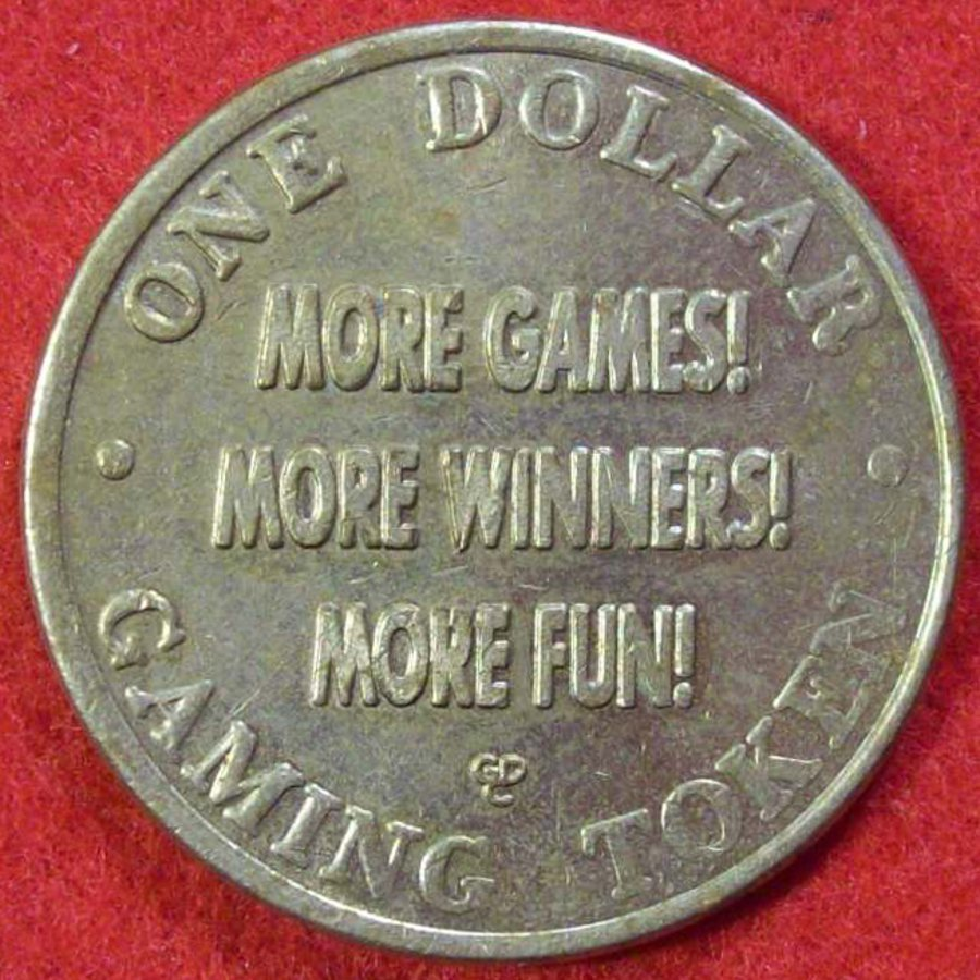 ISLETA GAMING PALACE $1 SLOT MACHINE TOKEN - BRASS COLORED CIRCA LATE 1990'S