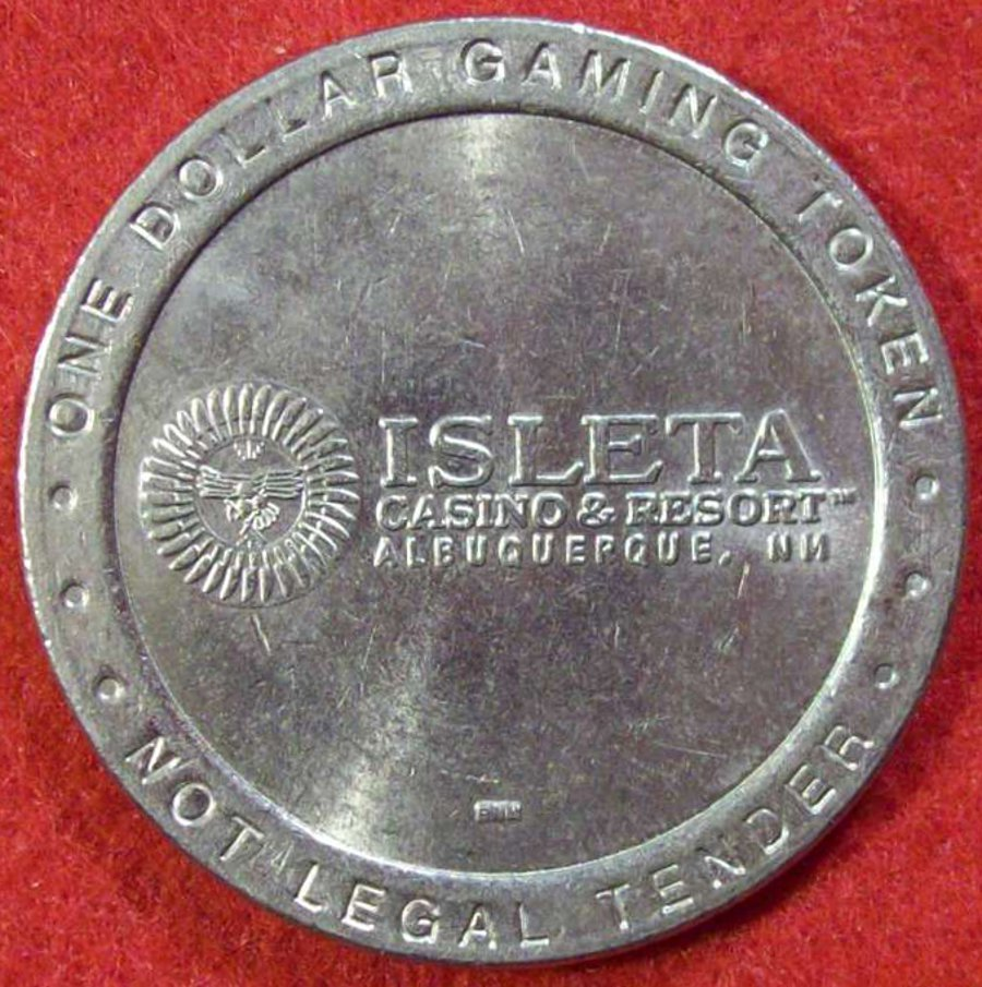 ISLETA CASINO & RESORT $1 SLOT MACHINE TOKEN - SILVER COLORED CIRCA EARLY 2000'S