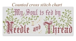 My Soul Is Fed Motto Sampler cross stitch Victorian Motto Sampler Shoppe - $9.00