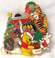 DISNEY WINNIE POOH TIGGER EEYORE PIN ON CHRISTMAS CARD