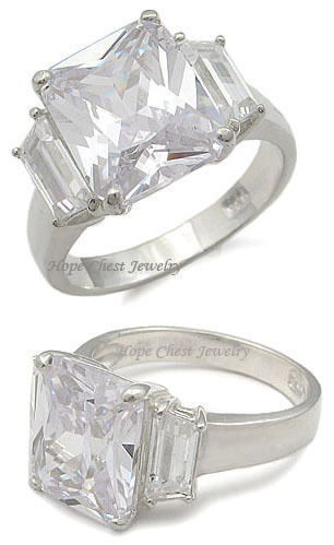 WOMEN'S STERING SILVER 5 CT THREE STONE CUBIC ZIRCONIA ENGAGEMENT RING SIZE 9