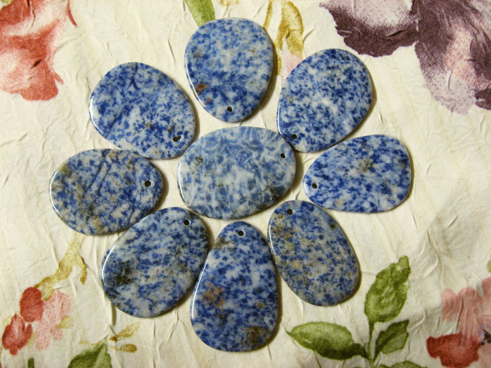 Natural Sodalite Focal Bead, Pendant, 50mm, Blue, White, Cream