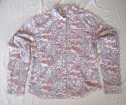 Girl's Size 12 Old Navy Pastel Print Shirt  Button Front Long Sleeve Purple Pink - $7.83