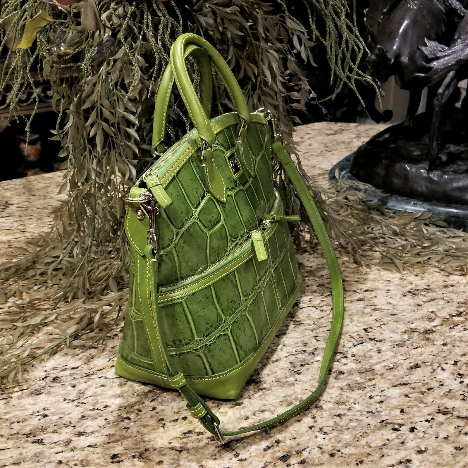 Large DOONEY & BOURKE Apple Green Embossed Croc Leather Satchel Crossbody  image 2