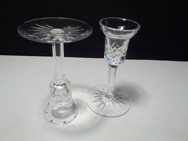 """PAIR OF WATERFORD 5 3/4"""" SINGLE CANDLES~~check pattern~~very differant"""