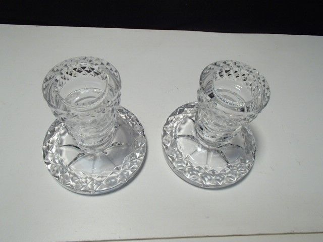 PAIR OF WATERFORD GLENDORA / LISMORE? SHORT CANDLES~~~nice ones