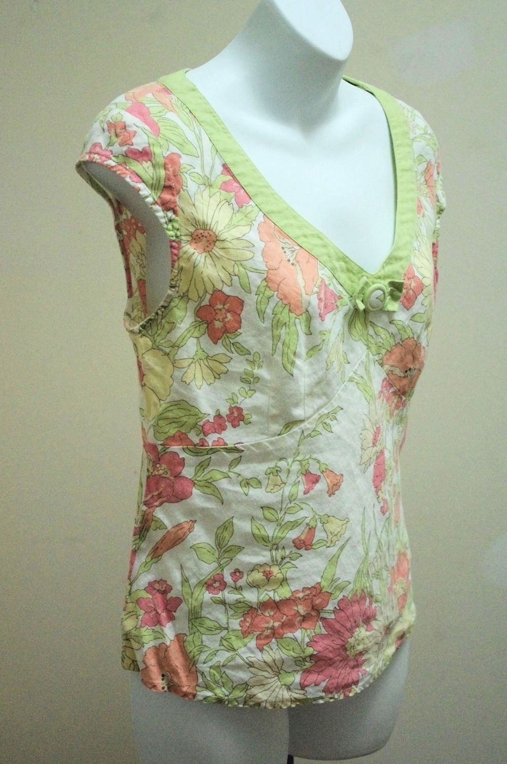 Ann Taylor Loft 6 S Top Pink Green Floral Linen Button Bow V Neck Cap Slv Shirt