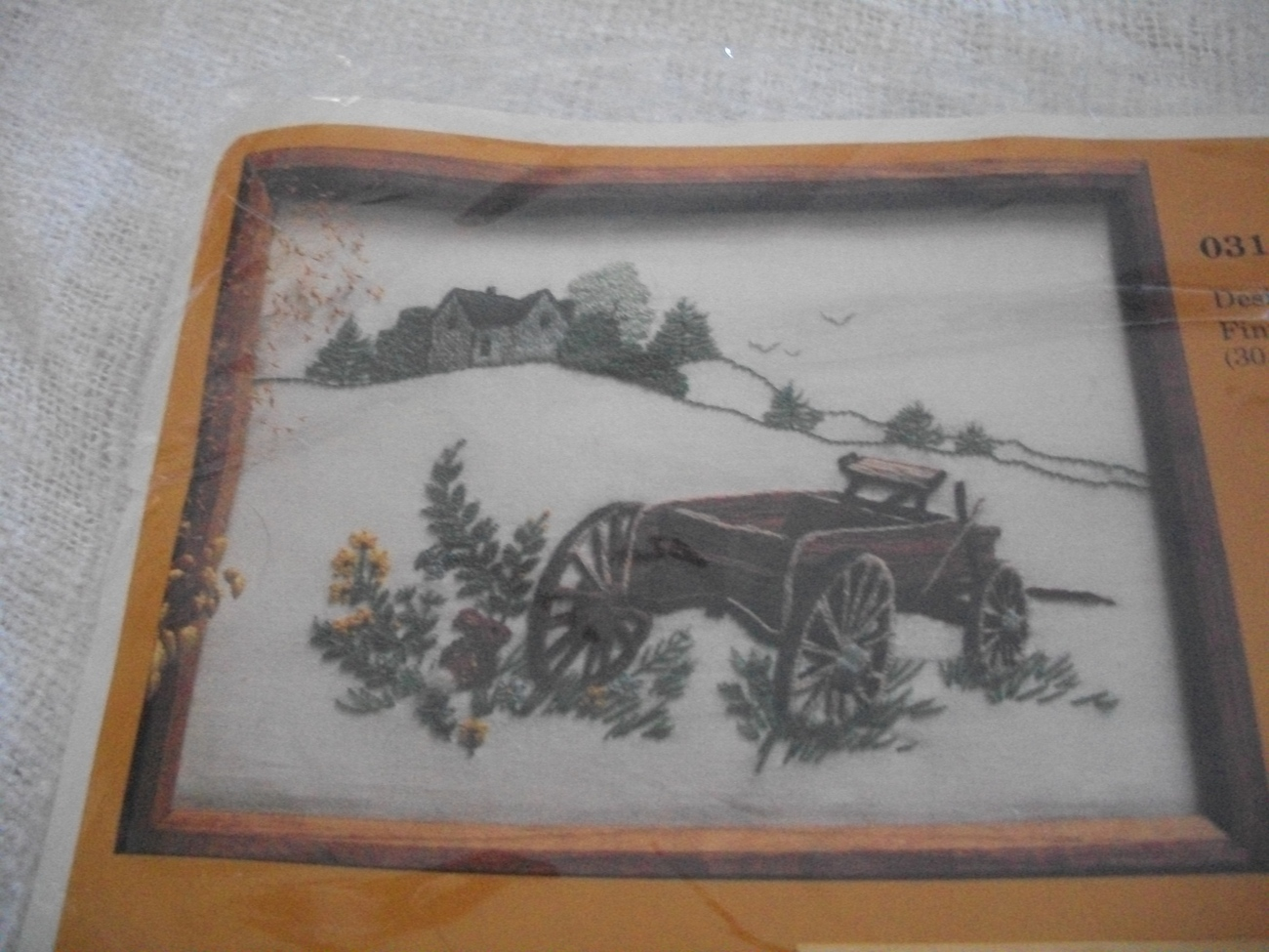 Old Wagon Crewel Embroidery Kit: Comes with Yarns, Canvas & Directions