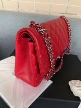 AUTHENTIC CHANEL RED CAVIAR QUILTED JUMBO DOUBLE FLAP BAG SILVER HARDWARE image 2