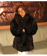 Brown Alpaca pelt midi jacket for women, fur outerwear  - $780.00
