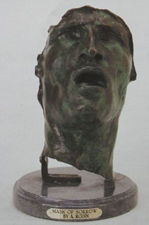 """Mask of Sorrow"" by Rodin Pure American Bronze Sculpture Statue Signed"