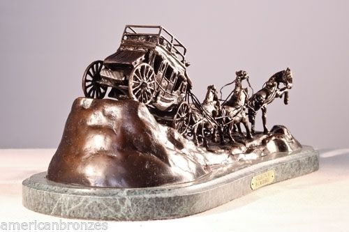 """Stagecoach"" Pure Bronze Collectible Sculpture Statue by C.M. Russell Large"