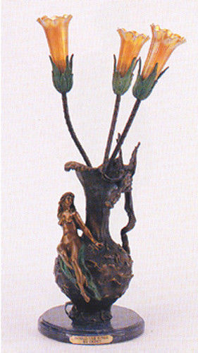 """""""Handled Vase With Nude""""  26""""H Distinctive Pure Bronze Sculptural Lamp by Debut"""
