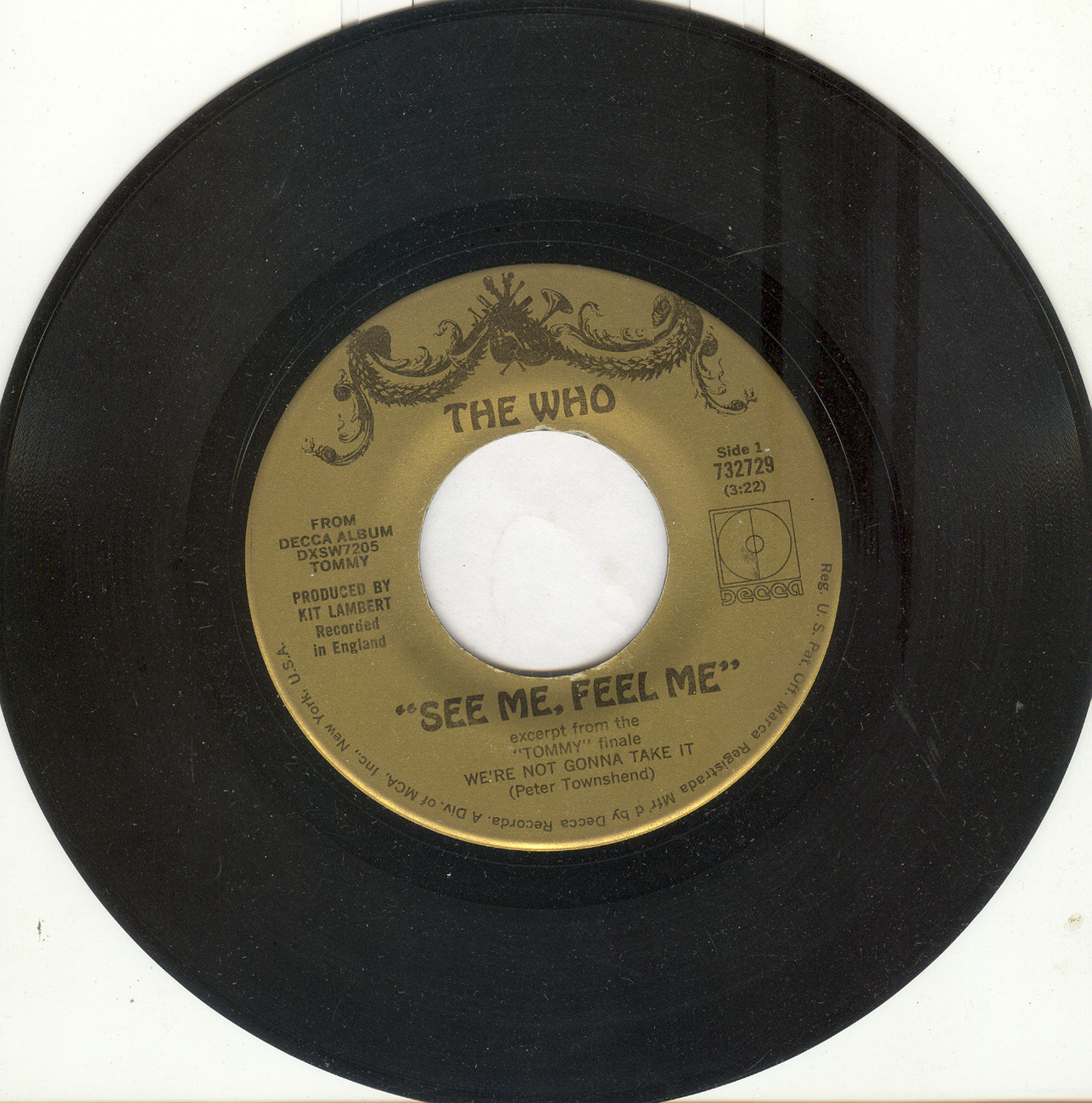 "The Who 45 rpm ""See Me, Feel Me"" b/w ""Overture From Tommy"""