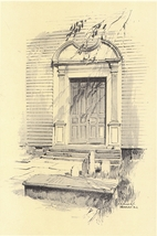 1922 Print of the Doorway of Trinity Church , Newport Rhode Island - $12.00