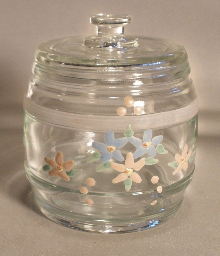 Glass Baby Room Jar with Hand Painted Flowers